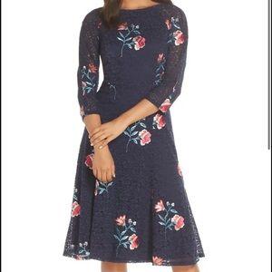 Eliza J Embroidery & Lace Navy Dress Plus Size